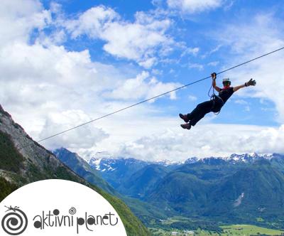 Adrenalinski park Bovec: zipline spust