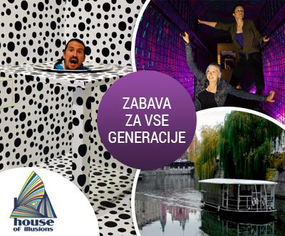 Ogled Hiše iluzij, vožnja po reki Ljubljanici, odrasla